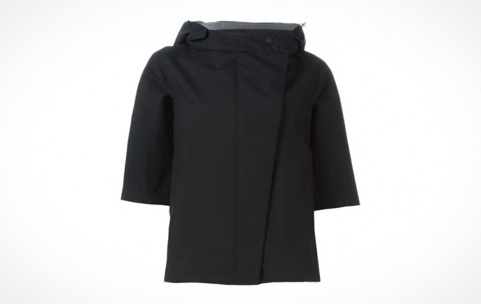 Black Herno Hooded Sport Jacket with cropped sleves