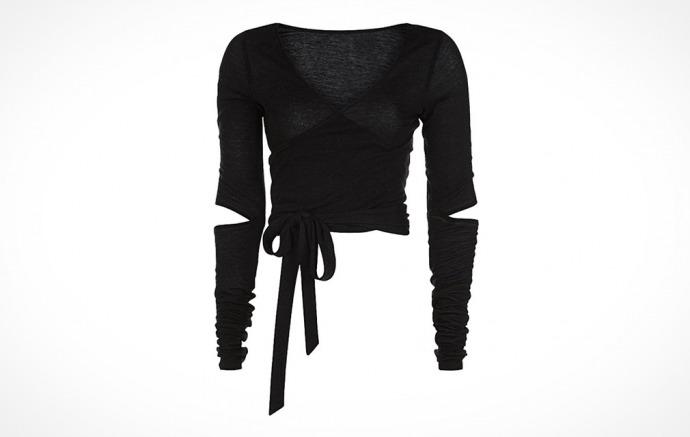 Black wrap Sweaty Betty Contemporary Long Sleeve Barre Crop-top