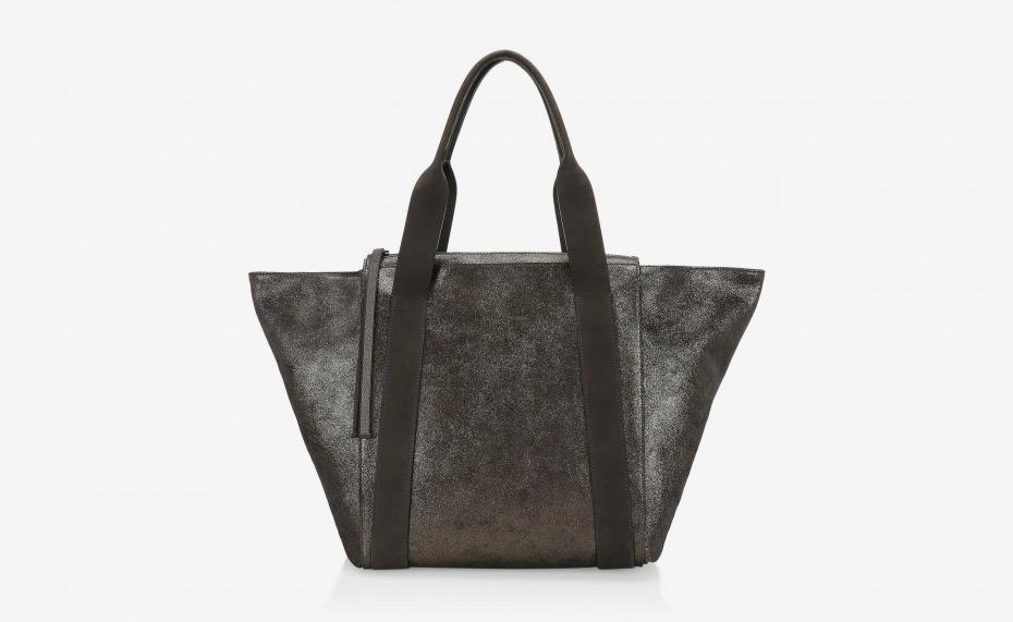 Brunello Cucinelli Metallic Leather Zip Tote